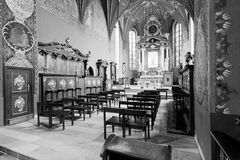 The interior of a Gothic church, Poland. Catholic church built in the fifteenth century in the Gothic style. Bromberg Diocese Cathedral, the Shrine of Our Lady Stock Images