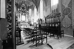 The interior of a Gothic church, Poland. Royalty Free Stock Photo