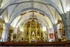 Interior of gothic church of Santiago Apostol Stock Image