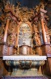 Interior of Gothic church in Tvrdosin, Slovakia. Wooden altar in historical gothic church in Tvrdosin, Slovakia royalty free stock images