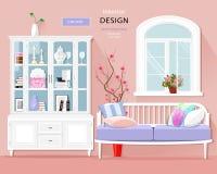 Interior gráfico à moda da sala com cores pastel: sofá, armário e janela Grupo bonito da sala Ilustração do vetor ilustração stock