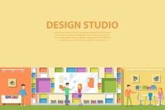 Interior gráfico creativo del diseño del estudio Agencia de publicidad corporativa del artista creativo que hace las pinturas del ilustración del vector