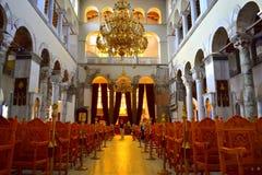 Interior Grécia da igreja do St Demetrios Fotografia de Stock Royalty Free