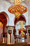Interior of the Grand Mosque in Abu Dhabi - chandelier stock image