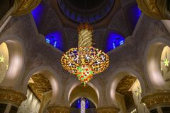 Interior of the Grand Mosque in Abu Dhabi. Abu Dhabi - Dec 8, 2018. Interior of the Sheikh Zayed Grand Mosque in Abu Dhabi, UAE. The mosque is large enough to royalty free stock images