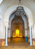 The interior of the Grand Mosque. SOUSSE, TUNISIA - SEPTEMBER 6, 2015: The mihrab is the nishe in wall, that shows the direction of the Kaaba in Mecca and the Stock Photography