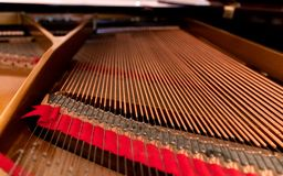 Interior of a grand piano stock photography