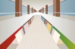 Interior grande de la galería del centro del comercio del departamento ilustración del vector