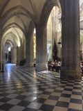 Interior and vaults of the Cathedral Oviedo Asturias Spain stock photo