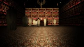 The Interior of the Great Library of Alexandria in the Lecture Hall Slow Zoom In stock video
