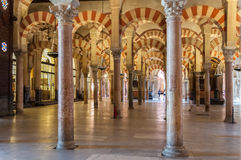Interior of the Great Mosque in Cordoba Royalty Free Stock Photo