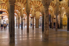 Interior of the Great Mosque in Cordoba Stock Image
