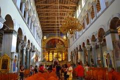 Interior Grecia de la iglesia del St Demetrios Fotografía de archivo libre de regalías