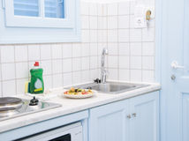 Interior Greek island motel apartment kitchen Stock Photography