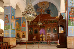 Interior Greek Orthodox Basilica of Saint George in town Madaba, Jordan. The interior Greek Orthodox Basilica of Saint George in town Madaba, Jordan,  Middle Stock Image