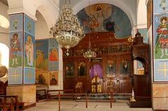 Interior Greek Orthodox Basilica of Saint George in town Madaba, Jordan Stock Image