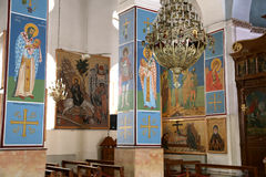 Interior Greek Orthodox Basilica of Saint George in town Madaba, Jordan. The interior Greek Orthodox Basilica of Saint George in town Madaba, Jordan,  Middle Stock Photos