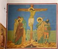 Interior Greek Orthodox Basilica of Saint George in town Madaba, Jordan Royalty Free Stock Photos