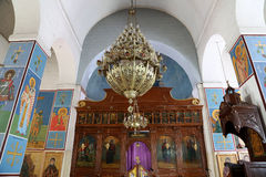 Interior Greek Orthodox Basilica of Saint George in town Madaba, Jordan. The interior Greek Orthodox Basilica of Saint George in town Madaba, Jordan,  Middle Royalty Free Stock Photo