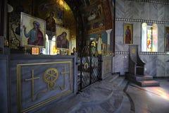Greek orthodox church. Interior of greek orthodox church Byzantine style Stock Photography