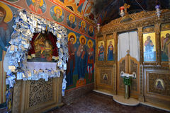 Interior of Greek Orthodox church. In Rethymno, Crete, Greece on 09 August 2014. Rethymno is the third largest city in Crete and the capital of regional unit Stock Photography
