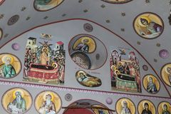 Interior of the Greek Orthodox Metropolite of Nazareth in the old city of Nazareth in Israel. Nazareth, Israel, December 23, 2017 : Interior of the Greek Royalty Free Stock Photos