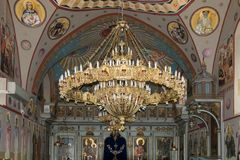 Interior of the Greek Orthodox Metropolite of Nazareth in the olInterior of the Greek Orthodox Metropolite of Nazareth in the old. Nazareth, Israel, December 23 Stock Photos