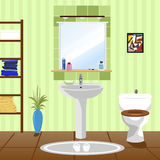 Interior of green bathroom with sink, toilet Royalty Free Stock Photos