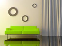 Interior - Green couch Stock Images