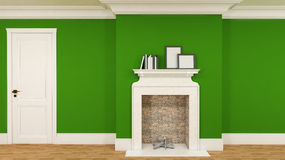 Interior in green with a fireplace, books and empty pictures. 3D Stock Image