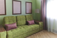 Interior in green and pink colors with green sofa and light parquet Stock Image