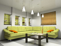 Interior with green sofa and bamboo jalousie. 3D vector illustration
