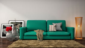 Interior with green sofa. 3d illustration Stock Photos