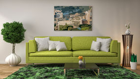 Interior with green sofa. 3d illustration Royalty Free Stock Photos