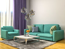 Interior with green sofa. 3d illustration Stock Photo