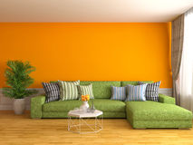 Interior with green sofa. 3d illustration Royalty Free Stock Images