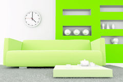 Interior in green tones. With a sofa and table with tea set Royalty Free Stock Photos