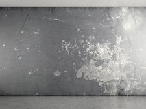 Interior with grey plaster wall. With concrete floor Stock Photography