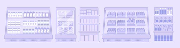 Interior of a grocery store. Showcases and refrigeration equipment with goods in the supermarket. Flat style. Vector Stock Photo