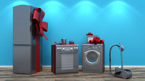 Interior with group of home appliances Royalty Free Stock Image
