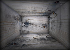 Interior of Grunge Wooden Box. Interior of wooden box, use as grunge background texture Royalty Free Stock Photo