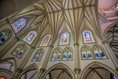 Interior of the Guayaquil Cathedral. Stained glass windows, and ceiling, in a Cathedral interior, in Guayaquil city, Ecuador stock photography