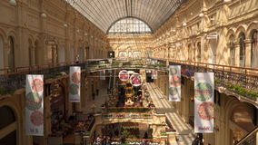 The interior of GUM department store on the Red Square stock video