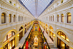Interior of GUM mall at Red Square at dusk time Royalty Free Stock Photography
