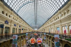 Interior of GUM shopping mall at Red Square in Moscow, Russia. royalty free stock photography