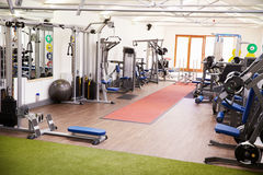 Interior of a gym with fitness equipment Royalty Free Stock Photos