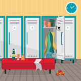 Interior of a gym locker room. Dressing place a fitness club. Vector flat cartoon illustration royalty free illustration