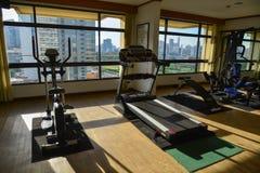 Interior of gym room at a luxury hotel. Bangkok, Thailand - Jun 18, 2017. Interior of gym room at a luxury hotel in Bangkok, Thailand. Bangkok is the economic Stock Photos