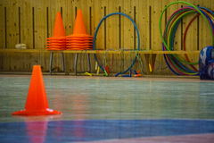 Interior of a gym at school, red cones on a row Stock Images
