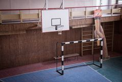 Interior of a gym in the Sport and Cultural center in the abandoned Soviet/ Russian settlement Pyramiden royalty free stock photo
